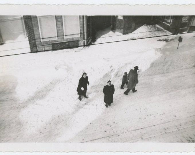 Figures on Snowy Street, 1948 Vintage Snapshot Photo (65462)