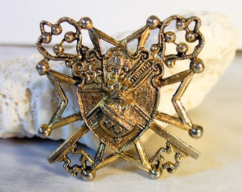 Vintage Brass Heraldic Brooch     Gilt Finish     Shield Brooch   Victorian Revival
