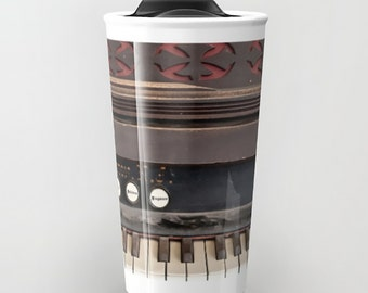 Travel Mug Coffee Mug Dusty Antique Vintage Piano