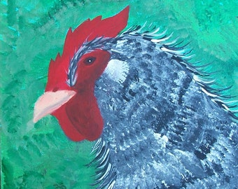Dom Juan Rooster, Dominecker Rooster, Rooster Original Painting