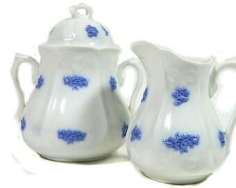 Adderleys Bone China Chelsea Grape Sugar Bowl and Creamer Blue and White
