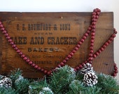 Vintage Christmas decor, 9 ft. Cranberry Red Wood Bead Garland, Country primitive Christmas