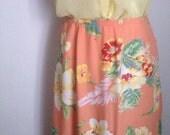 Peach Floral Print Maxi Skirt/ Liz Claiborne/ Peach Skirt// Peach Blossom/ Floral Print/ Vintage Boho Skirt/ Long Skirt/ Midi Skirt/ 1990s/