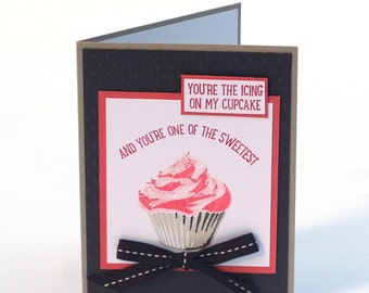 Sweet cupcake card, pink, happy birthday card, friendship, just because blank card