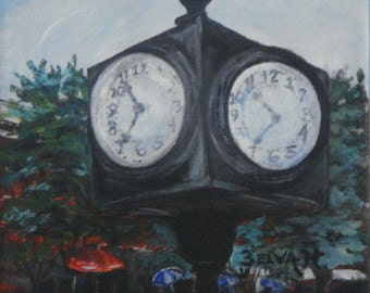 Clock in Downtown Athens, GA by Belva - unframed