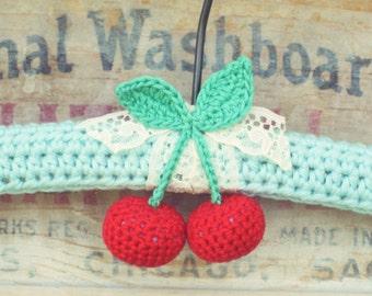 custom cherries crocheted hanger