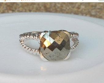 SALE Pyrite Ring- Silver Ring- Gemstone Ring- Stone Rings- Gold Rings- Statement Ring- Quartz Ring- Topaz Ring