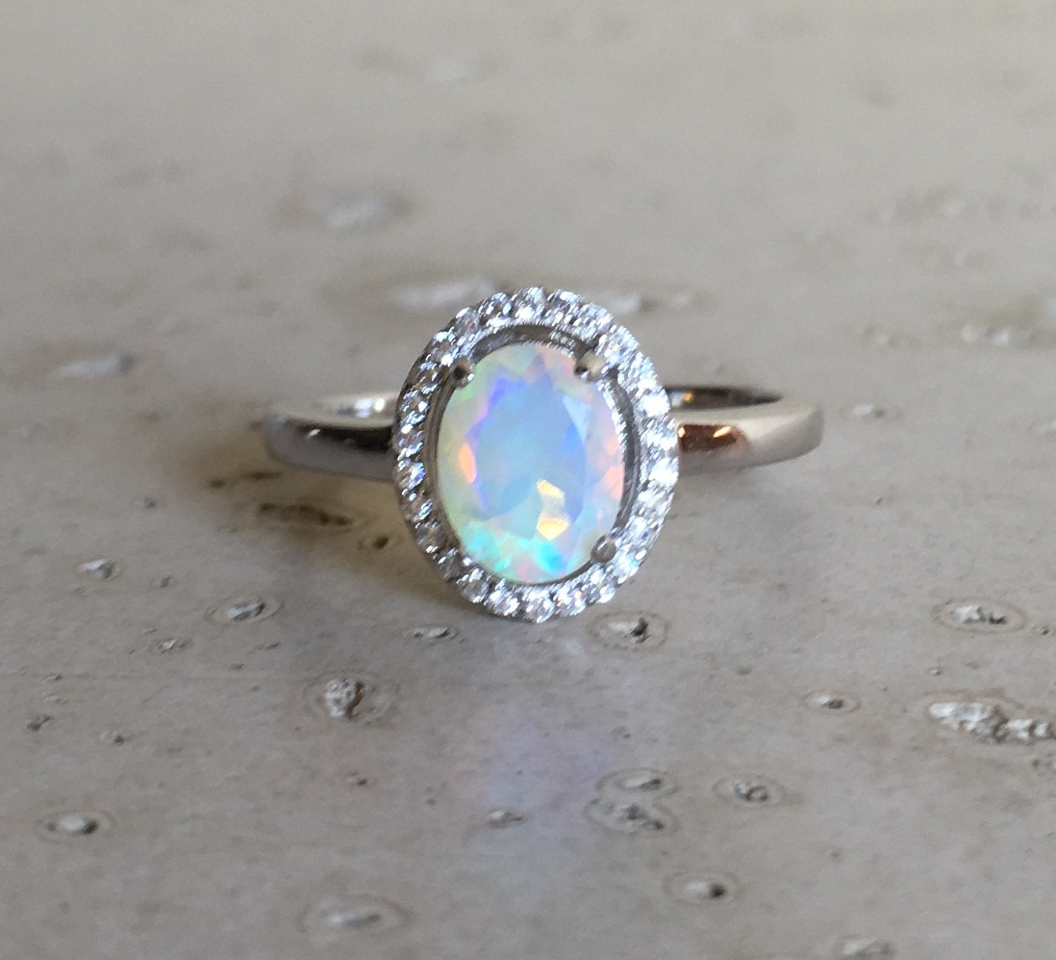 oval shape opal engagement ring opal promise ring