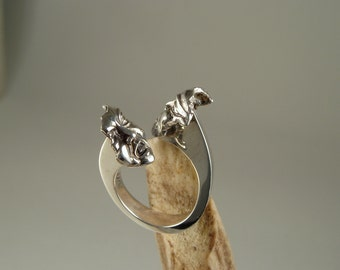 Ring masks theatrical, dramatic ring in sterling silver, offered gold 14 k and silver on request.