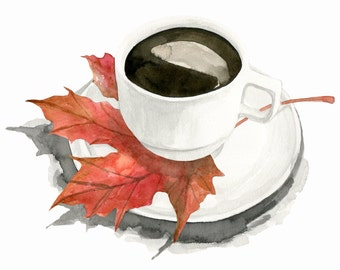 Falling for Coffee, print from original watercolor and mixed media fashion illustration by Dena Cooper