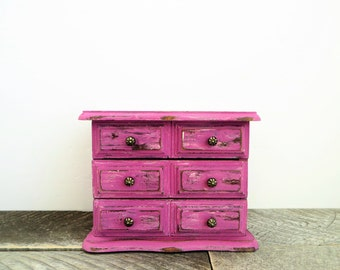 Painted Jewelry Box - Modern Vintage Upcycled - Pink Jewelry Box