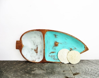 Handpainted Leaf Tray - Grey Turquoise - Organization Storage - Divided Tray