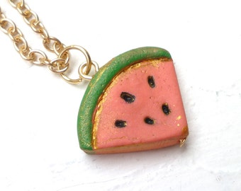 Watermelon Necklace, Summer Girl Necklace, Fun Colorful Jewelry, daughter, goddaughter, granddaughter, niece, Coordinated sisters Gift