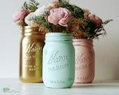 Dorm Decor Mint Blush Gold Home Decor Painted Mason Jars Pencil Holder Wedding Decor