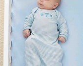 Monogrammed Blue Striped Infant Gown- Baby Gift- Monogrammed Gift- Mud Pie