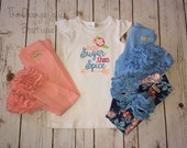 More Sugar Than Spice embroidered flutter sleeve tunic dress-m2m sew sassy peach- sew sassy blooming days- m2m sew sassy sky blue