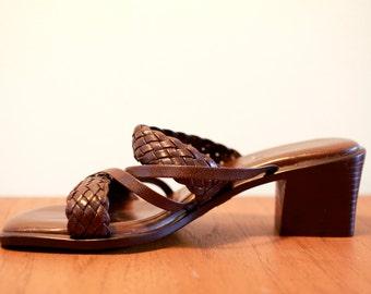 90's Diana Ferrari Brown leather strappy mules sz 6.5