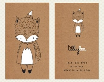 Fox Business Card Design. Foxy Weather Business Card Design. Kraft Business Card. Cute Fox Character Calling Card. Kawaii Business Card