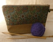 Upcycled Linen and Vintage Fabric Project Bag