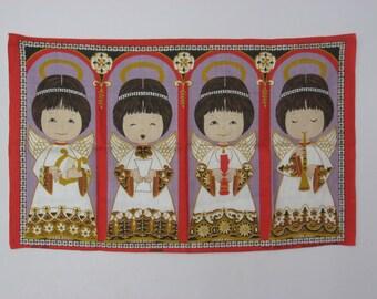 Vintage Irish Linen Tea Towel, Wall Hanging, Cherubs, Angels, Choir Girls, Christmas, NOS