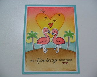 Handmade Anniversary/Love Card - Flamingo Couple Card - We Flamin-go Together - BLANK Inside