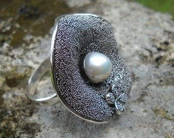 Flower Pearl Ring 925 Sterling Silver