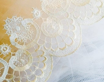 Vintage Veil Cathedral Length Midcentury Handmade Lace NorthCoastCottage Jewelry Design & Vintage Treasures