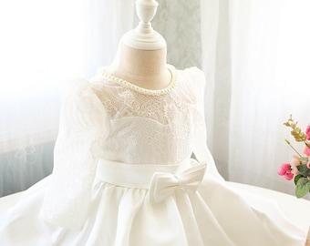 Elegant Ivory Toddler Easter Dress in Long Sleeves, Baby Girl Birthday Dress, Infant Pageant Dress PD106-1