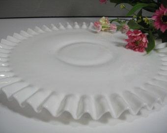 Large Milk Glass Cake Plate, Fenton, Milk Glass Platter, Wedding Cake Plate