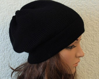 Black beanie, black hat, handmade knitted hat for women, stylish beanie, slouchy beanie, slouch hat