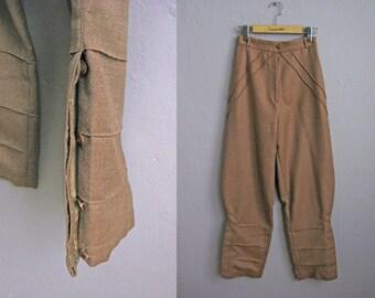 1970s Vintage Jodhpurs Riding Pants Breeches High Waist Brown / XS Small