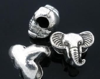 4 Pieces Antique Silver Elephant European Charms