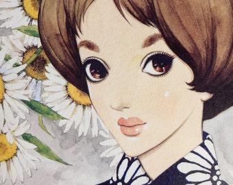 1960s JUNICHI NAKAHARA Big Eyed Girl Mod Flowers Retro DOUBLESIDED Print Perfect for Framing
