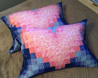 Custom Heart Bargello Quilt Pillow Shams