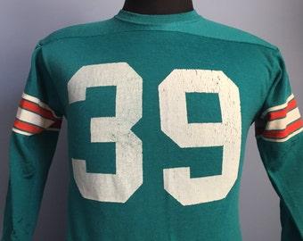 70s 80s Vintage Larry Csonka #39 Miami Dolphins Jersey T-Shirt - MEDIUM