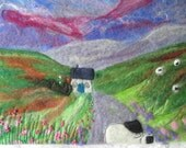 felt wall art, wet felted, mountain landscape, 9 x 12 inches