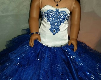 Saphhire Blue Ball Gown for your American Girl Doll with jewlery
