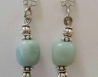 Amonizite Earrings, stone earrings, green earrings, earrings,