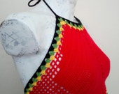 red,yellow,green black sexy tank,sexy halter top, hippie crochet top,bob marley tank, sexy top, beach tank,Summer