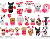Valentine dogs digital clip art for Personal and Commercial use - INSTANT DOWNLOAD