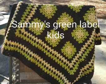 Brown and green blanket