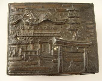 Vintage Japanese Box with Village Design