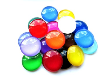 10 Mix Color Glass Cabochon's 18 mm Glass Cabochon Round Cabochon Flat Back Craft Supplies Jewelry Supply