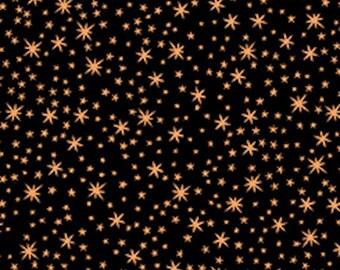 Quilting Treasures Metals, Copper Stars on Black Fabric