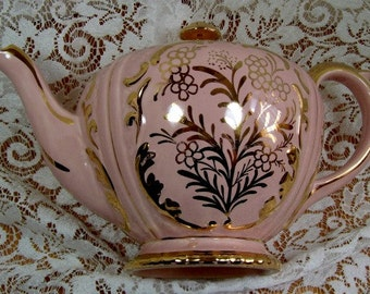 Gibsons of England - Beautiful Pink Teapot with Lots of Gilding.
