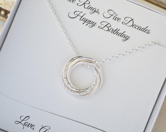 50th Birthday necklace for wife, 50th Birthday gift for women, 5th Anniversary gift for her, 5 Interlocking rings necklace, Sister necklace