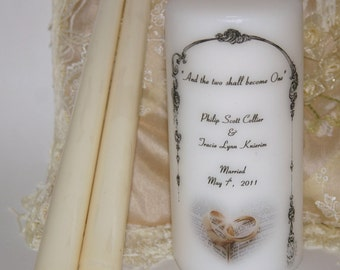 Unity Wedding Candle, Unity Candle Set, Two shall become One, Customized Candle, Anniversary Candle, Reception Table,