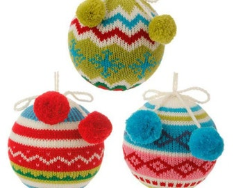 SALE - RAZ Knit Ball with Pom Pom Ornament - Set of 3, pink blue green 4.5 inch ball ornaments