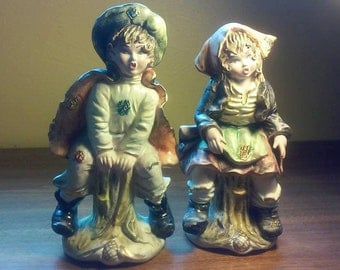 Pair of Studio Art Pottery boy and girl hobo/peasant/gypsy figurines - Excellent Condition - Made in Italy