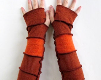 Back to School - Gypsy Gloves - Typing Gloves - Arm Gloves - Fingerless Gloves - Recycled Sweater Arm Warmers - Wool Gloves - ThankfulRose